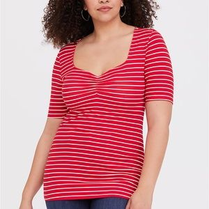 Torrid 3/4X Tee Top Red Stripe V-Neck Ruched Foxy